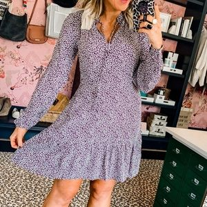 Loft VINE TIE NECK FLARE DRESS